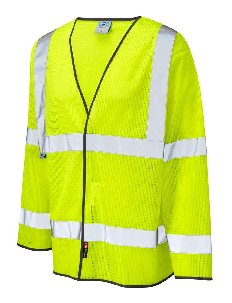 Leo Workwear Fremington S04-Y Coolviz Sleeved Hi Vis Waistcoat - Yellow