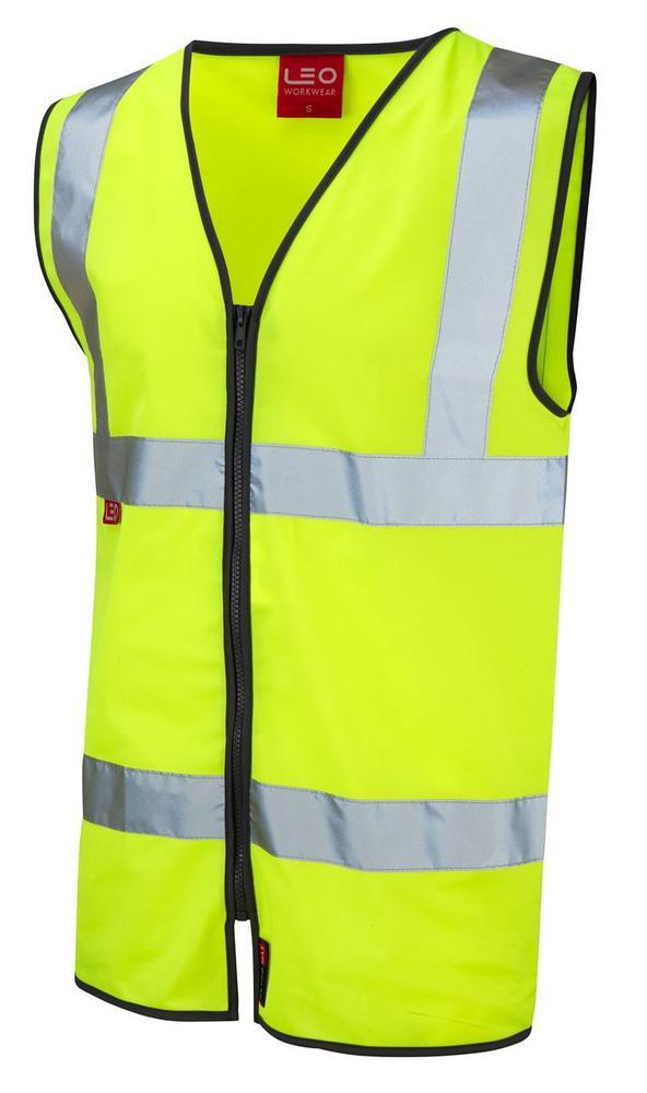 Leo Workwear Huntshaw W07-Y Extra Bright Hi Vis Flame Retardant Zip Waistcoat