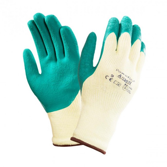 Ansell 80-100 Powerflex Latex Palm Coating General Handling Work Gloves