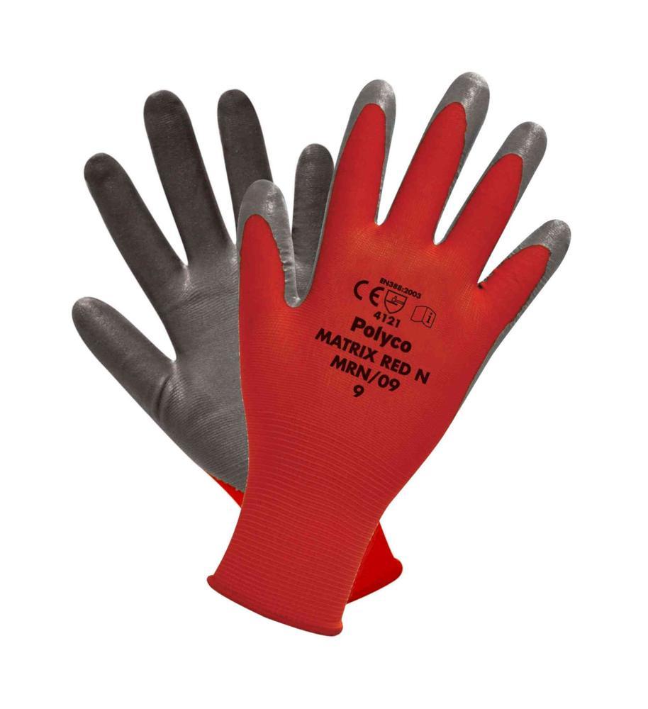 Polyco Matrix Red N Nitrile Foam Coated General Handling Work Gloves