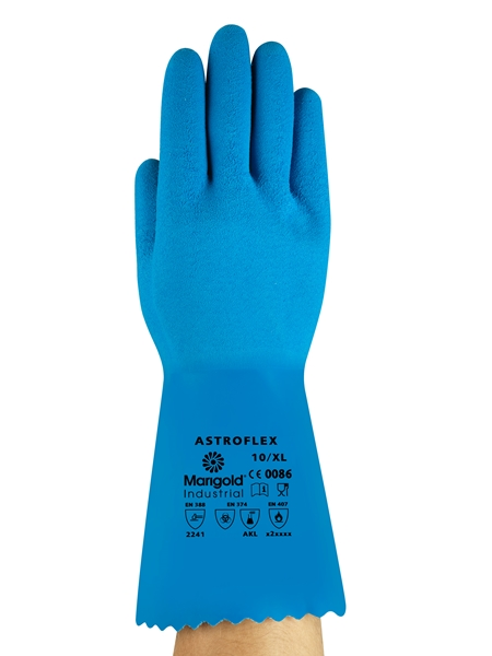 Ansell Marigold Astroflex Natural Rubber Chemical Resistant  Gauntlets, Size - 8