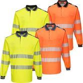 Portwest T184 Polycotton Long Sleeve Segmented Tape Hi Vis Polo Shirt