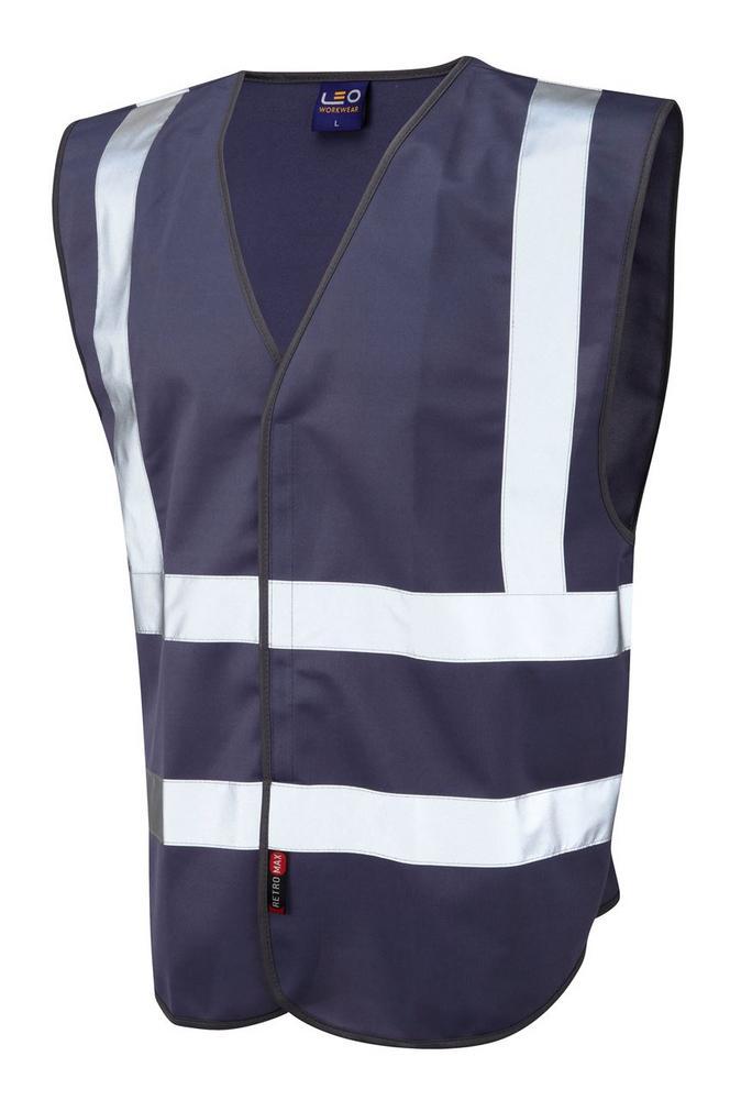 Leo Workwear Pilton W05 Reflective Lightweight Hi-Vis Waistcoat Navy