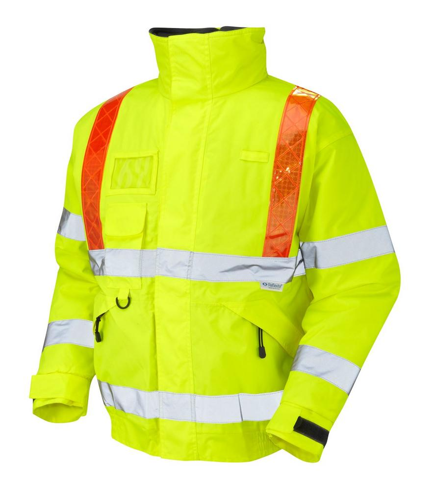 Leo Workwear Portmore J03-Y Hi Vis Orange Brace Superior Bomber Jacket - Yellow