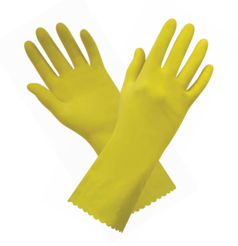 Polyco Swift Natural Rubber Hand Protection Yellow Household Gauntlets, Size - Large