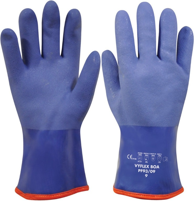 Polyco Vyflex Boa PF93 Chemical Resistant Warm Lined PVC Gauntlet Gloves, Size - 9