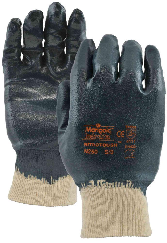 Marigold Industrial Nitrotough N250B Nitrile Full Coated Work Gloves, Size - 7