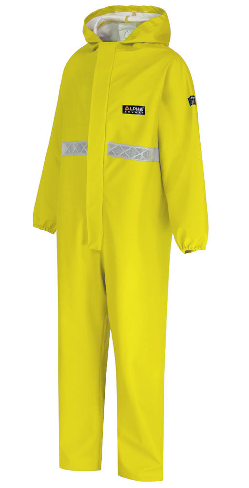 Alpha Solway CPBH-EW-R Chemsol Plus Chemical Coverall Hi Vis Flame Retardant Yellow Size L
