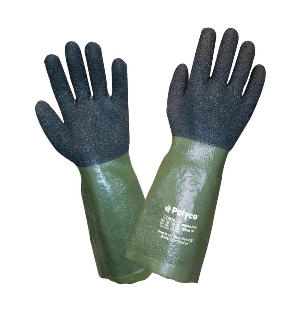 Polyco GIOG5 Grip It Oil Safety Gauntlets Cut 5 Resistant PVC Coated