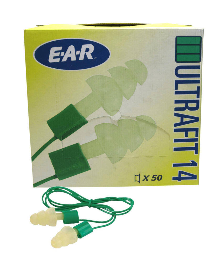 50 Pairs Box - 3M E-A-R Ultrafit 14 Pre-Moulded Corded Reusable Ear Plugs SNR=14dB