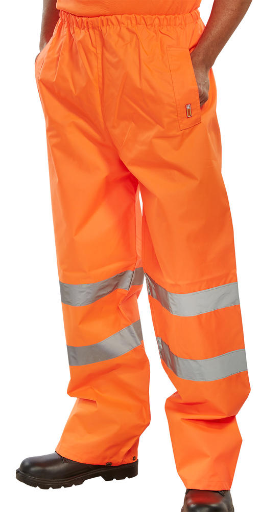 Beeswift TENOR Waterproof Hi Vis Reflective Bands Orange Traffic Trousers
