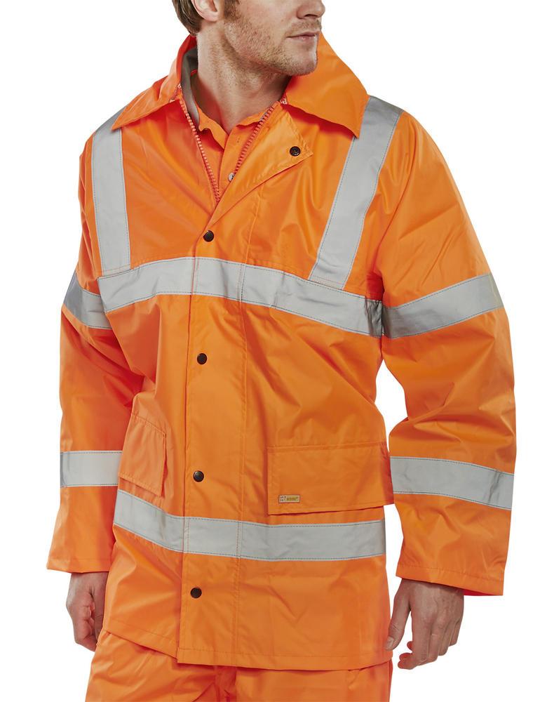 Beeswift TJ8 Waterproof Hi Vis Orange Lightweight Reflective Bands Rain Jacket