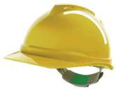 MSA V Gard Safety Helmet Hard Hat Push-Key Fit Adjuster Yellow