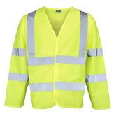 RTY HV075 Men Hi Vis Waistcoat Long Sleeve Yellow Size L