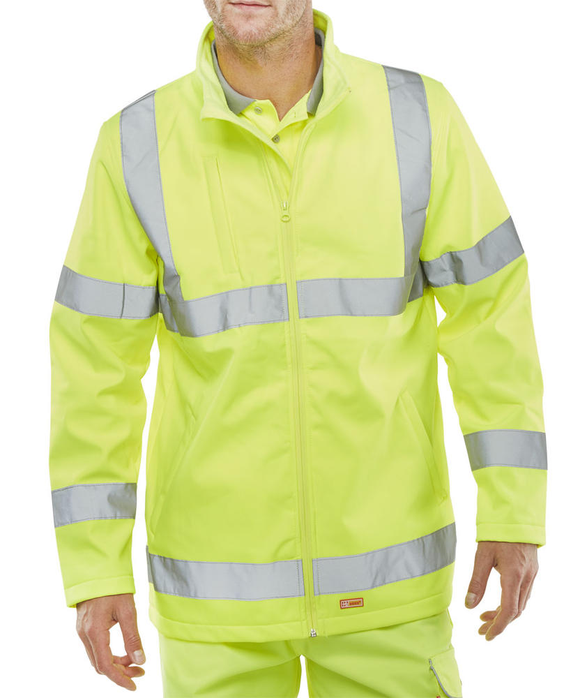 Beeswift SS20471SY Yellow Soft Shell Lightweight Hi Viz Jacket, Size - 4XL