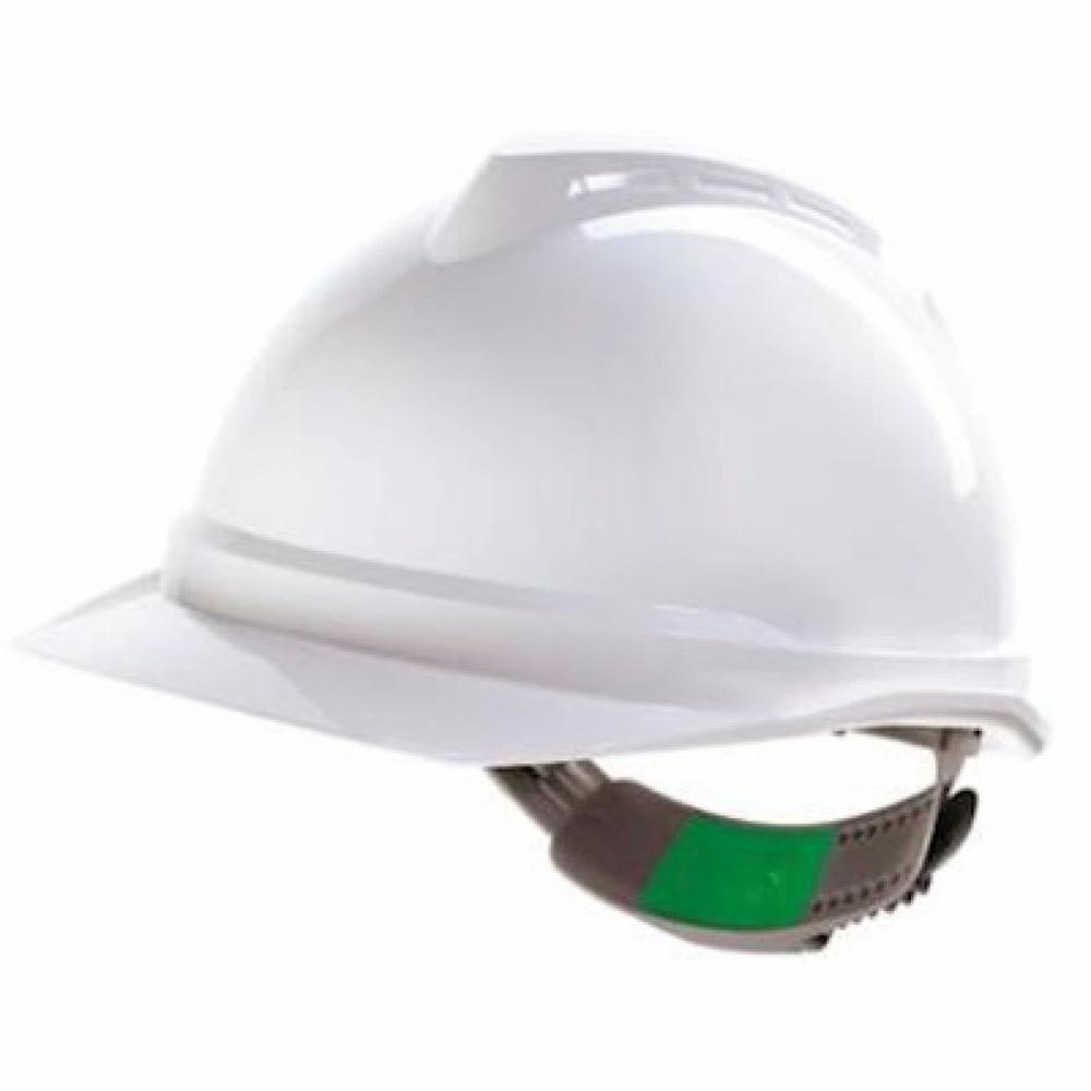 MSA V Gard Safety Helmet Hard Hat Push-Key Fit Adjuster White