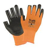 TraffiGlove Amber 3 Digit Work Gloves PU Coating Level 3 Cut Resistance Size 9