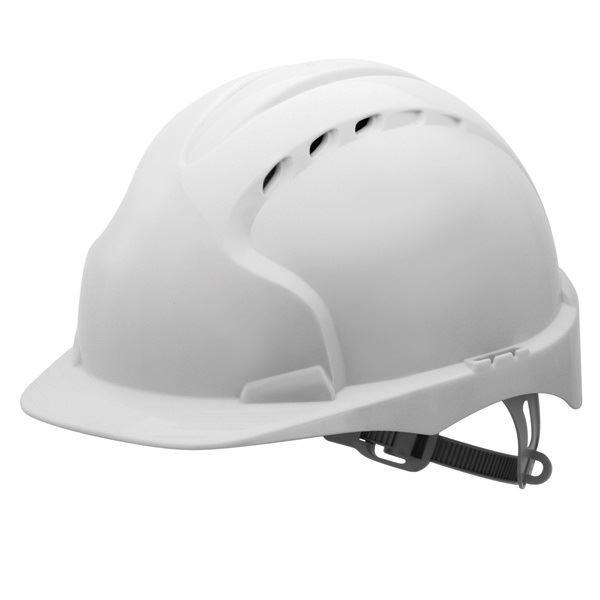 JSP EVO3 Lightweight Slip Ratchet Vented Helmet Standard - White