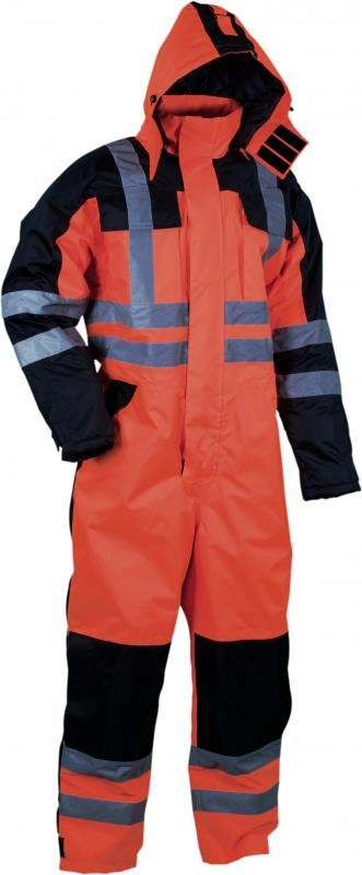 Lyngsoe Waterproof Breathable PU Hi Vis Orange-Black Winter Coverall LR5033