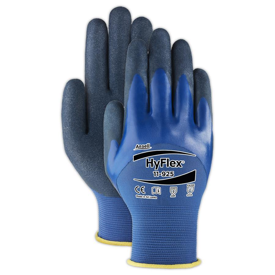 Ansell 11-925 HyFlex Work Gloves Nitrile Oil Repellent ¾ Coating