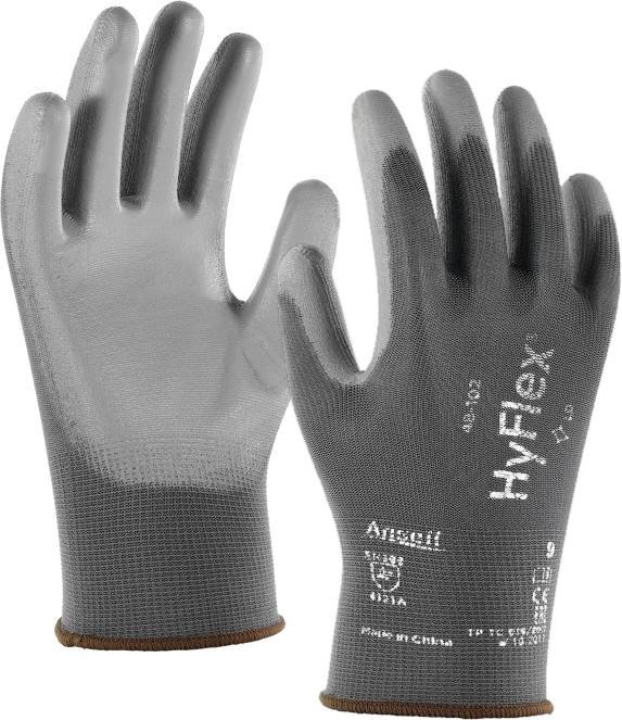 Ansell HyFlex 48-102 Work Gloves PU Coating Grey