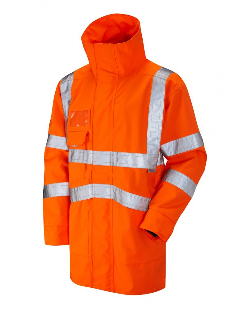 Leo Workwear Clovelly A04 Executive Anorak Windproof Waterproof Orange