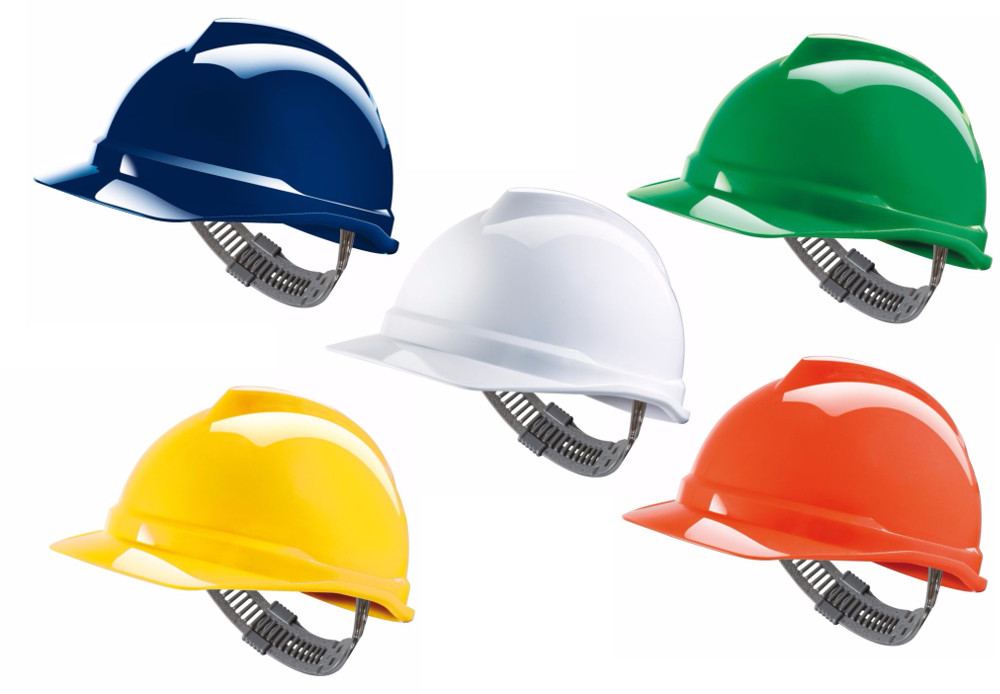 MSA V Gard Safety Helmet Hard Hat Staz-On Fit Adjuster All Colours