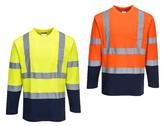 Portwest S280 Two-Tone Cotton Comfort Hi Vis T-Shirt Long Sleeve