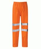 Orbit Hydra HVTR01 Warrior Waterproof Hi Vis Reflective PU Coating Mens Orange Rain Over Trousers