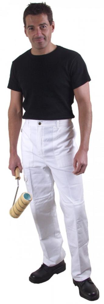 Painters Trousers White, with knee pad pockets PC199