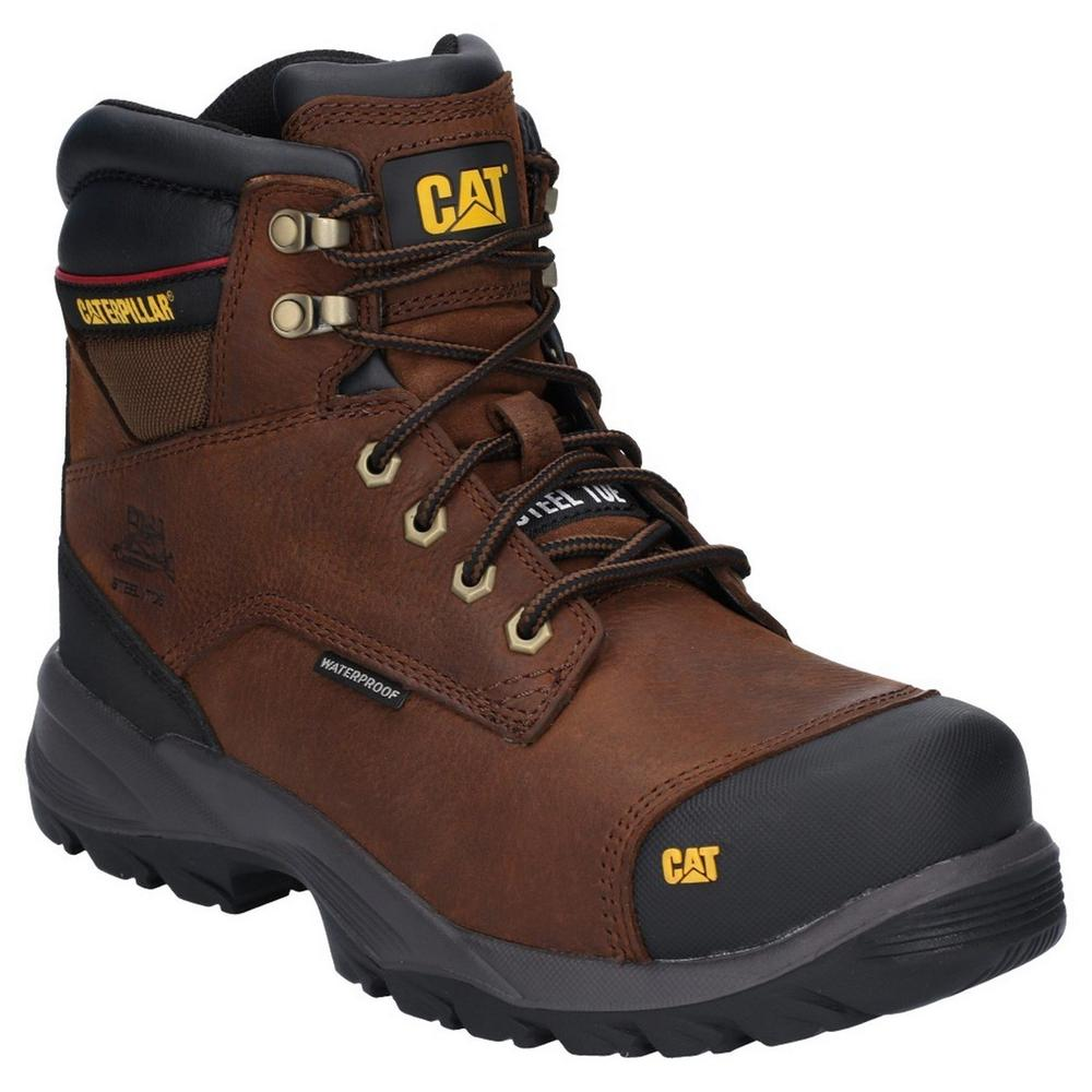Caterpillar P716166 Spiro Men Safety Work Boots Waterproof Brown