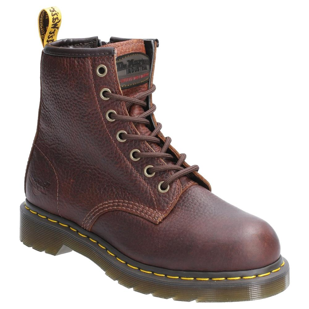 Dr Martens Maple Zip Ladies Safety Work Boots Side Zip Teak