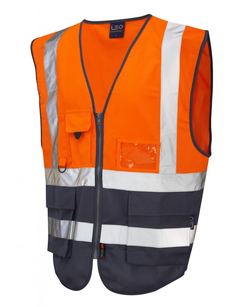 Leo Workwear Lynton W11 Hi-Vis Waistcoat Orange/Navy