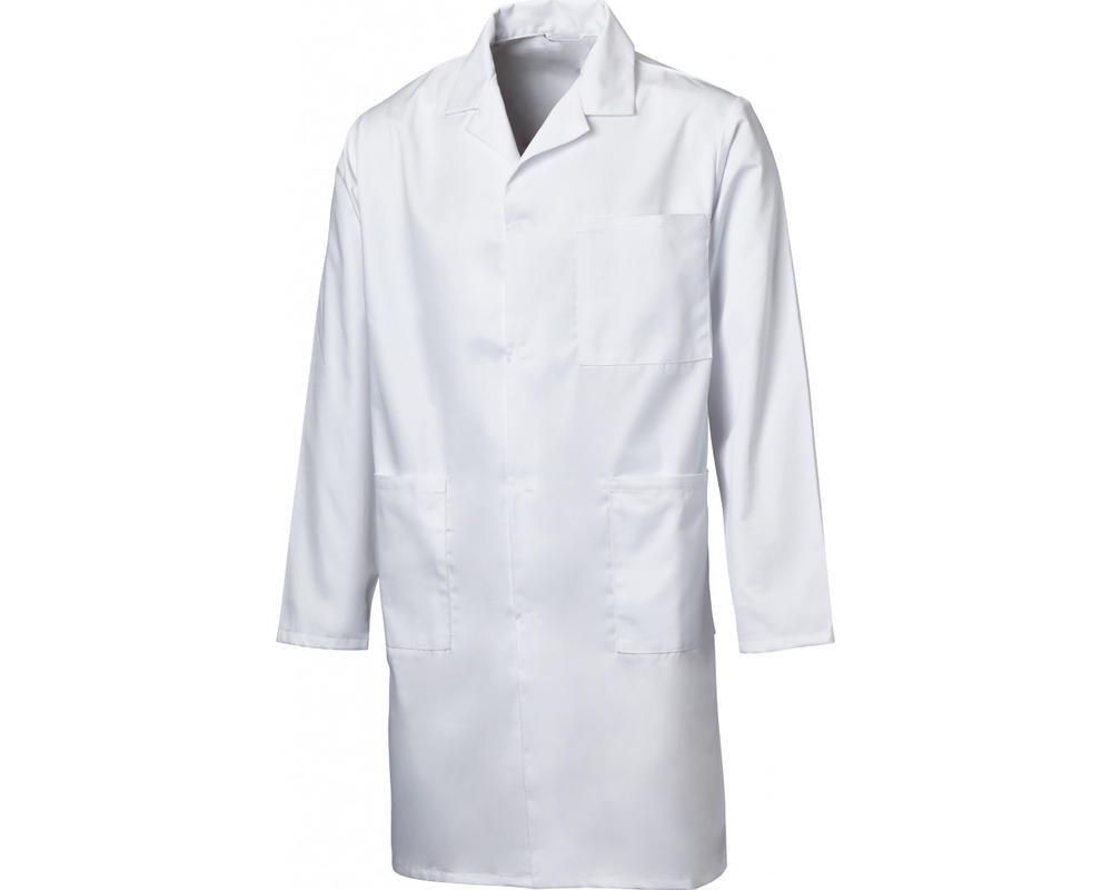 Beeswift PCWC Mens Warehouse Coat 100% Polycotton Stud Closure Uniforms Workwear White