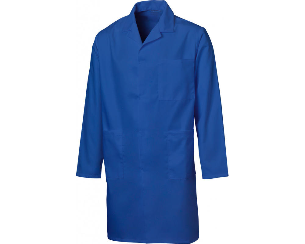 Beeswift PCWC Mens Warehouse Coat 100% Polycotton Stud Closure Uniforms Royal Blue