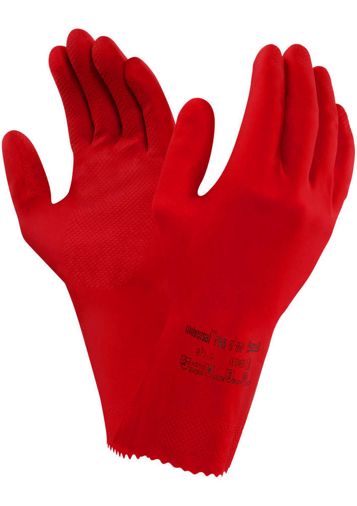 Ansell 87-660 Universal Plus Red Latex Gauntlets