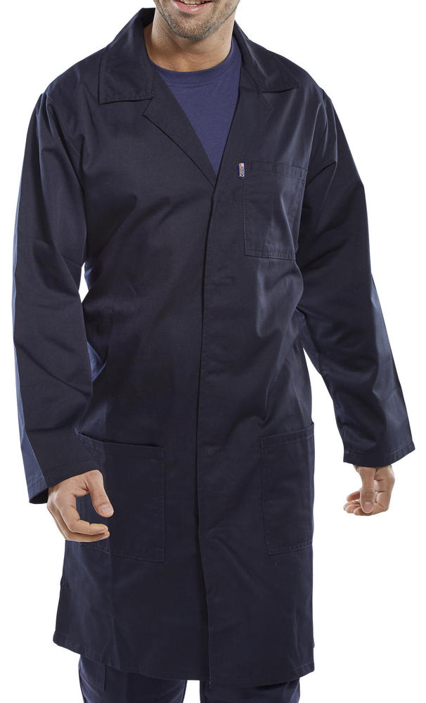 Beeswift PCWCN Warehouse Coat Polycotton Navy Size 2XL