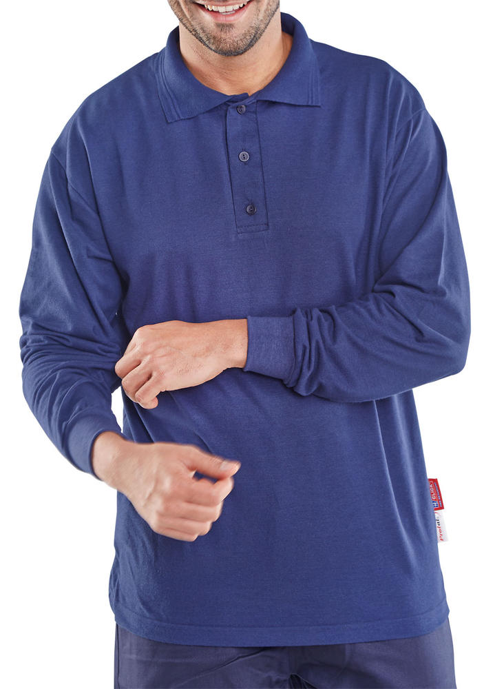 Beeswift Protex Fire Retardant Polo Long Sleeve Navy