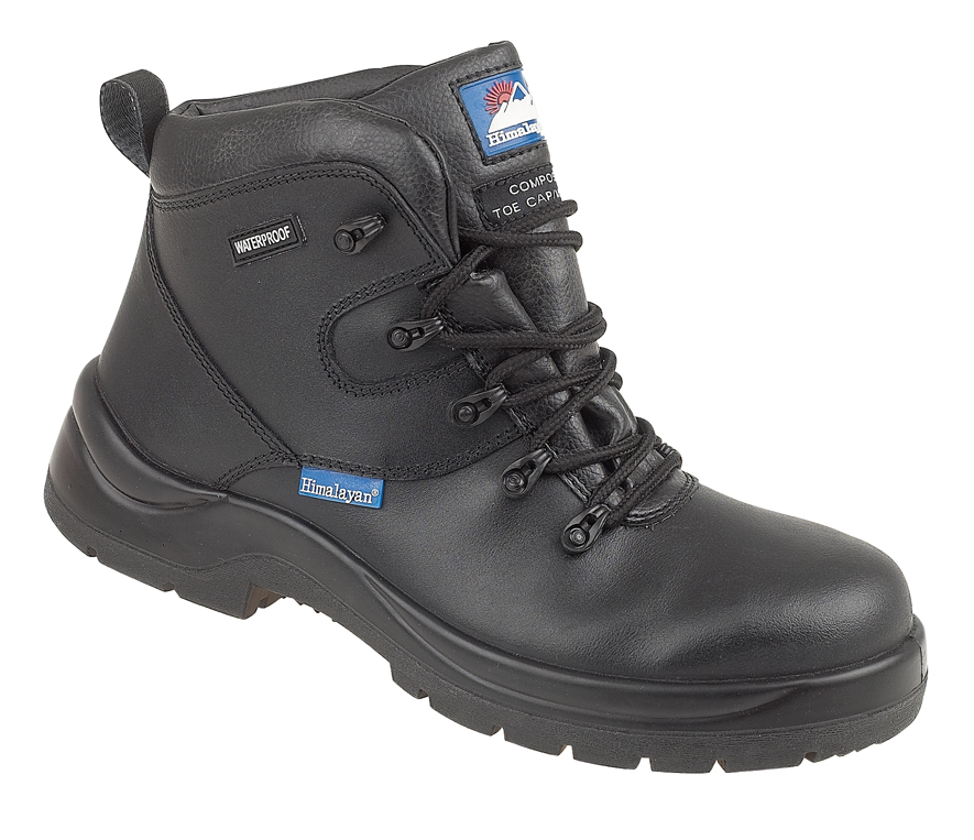 """Himalayan Black Leather HyGrip """"Waterproof"""" Safety Boot with Metal FreeToe/Midsole Pu Outsole"""