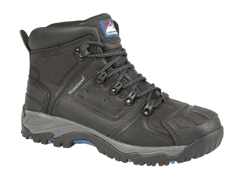 Himalayan Black Waterproof S3 ankle safety boot with heavy duty scuff cap and rubber sole