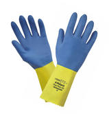 Polyco Duo Plus 60 Double Dipped Latex Glove Yellow Blue