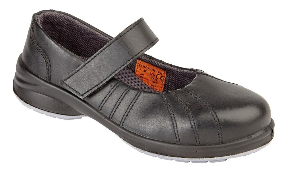 Himalayan Womens Black Star Mary Jane Ladies Safety Shoes with Penetration Resistant Midsole