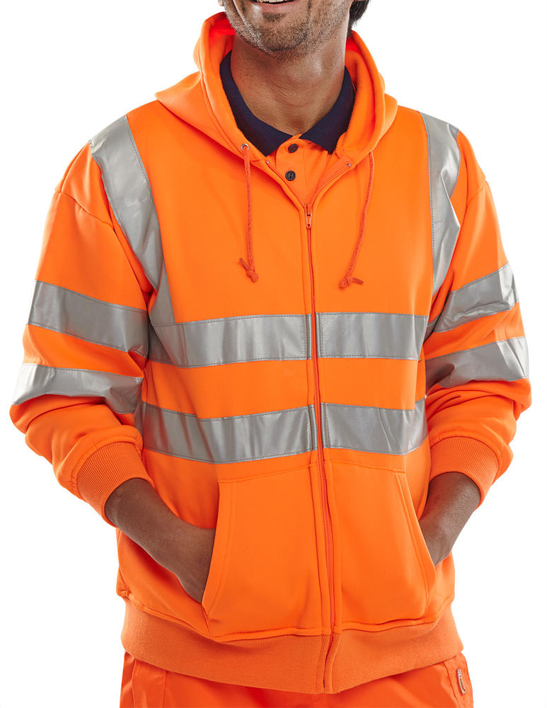 Beeswift BSHSSENOR Hi Vis Orange Sweatshirt With Hoodie