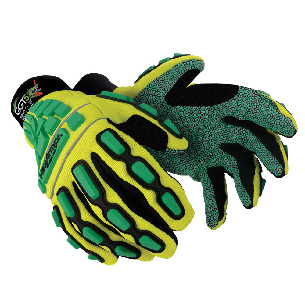 Polyco HexArmor GGT5 Gator Grip 4020 Impact Protection Gloves Cut Level-5 Green