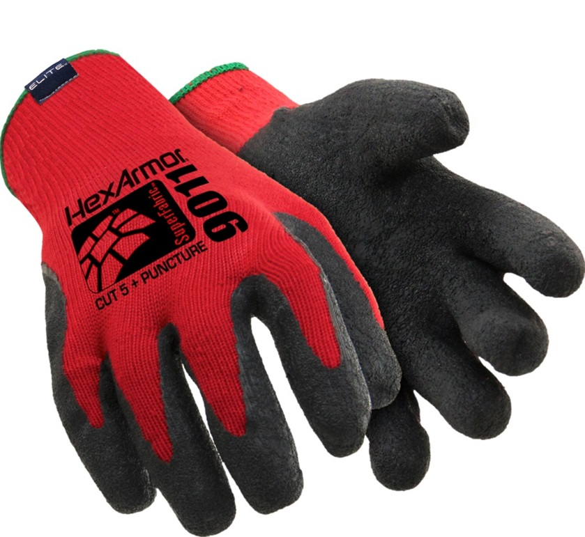 Polyco HexArmor 9011 Super Fabric Level 6 Cut 5 Resistant Gloves Red/Black