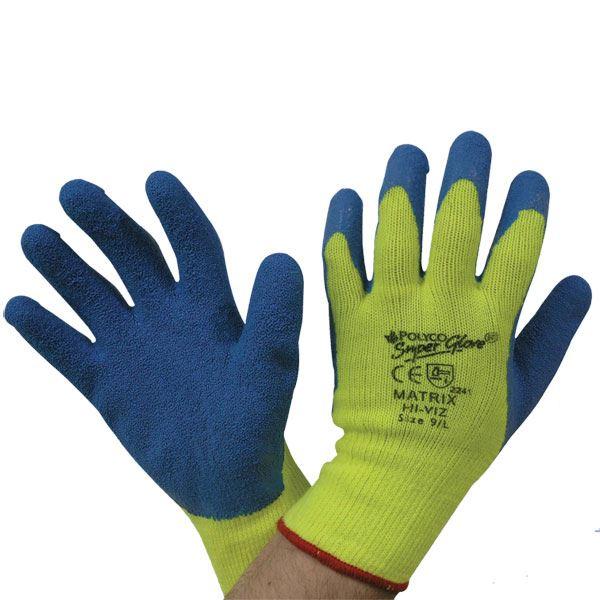 Polyco Matrix Hi-Viz Grip Work Gloves 903-MAT Latex Palm Coat Yellow/Blue 9Large