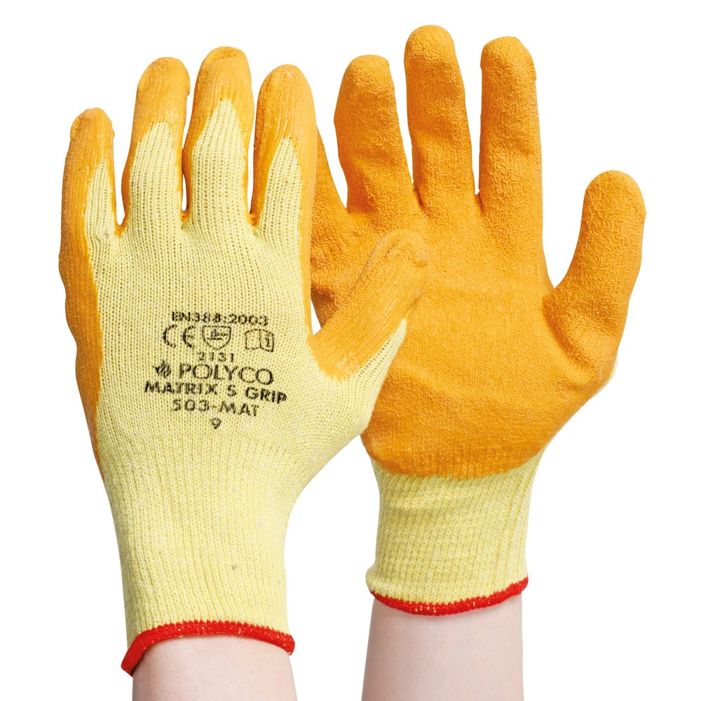 Polyco Matrix S Grip Work Glove Latex Palm Coated Orange