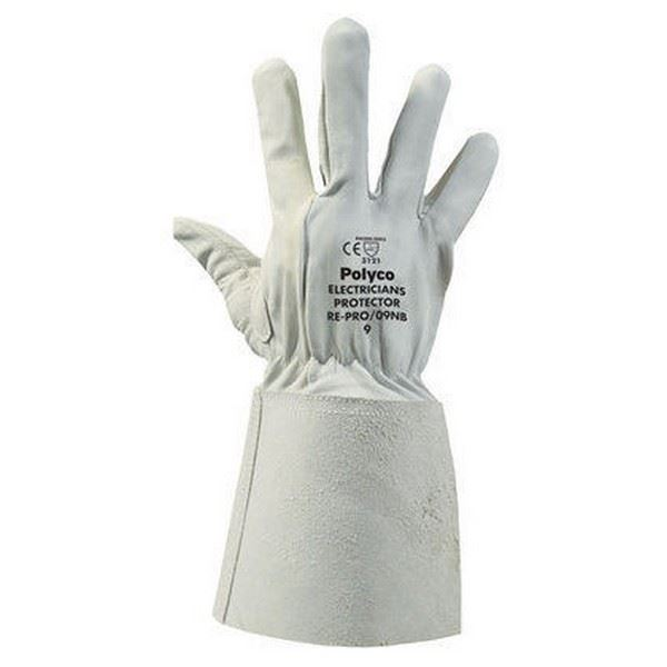 Polyco RE-PRO Electricians Protective Over-Gauntlet Leather Work High Grip White