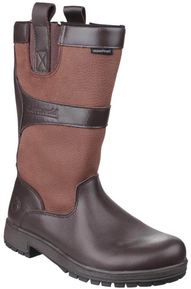 Cotswold Ascot Ladies Mid-Calf Casual Leather Waterproof Boots Walnut