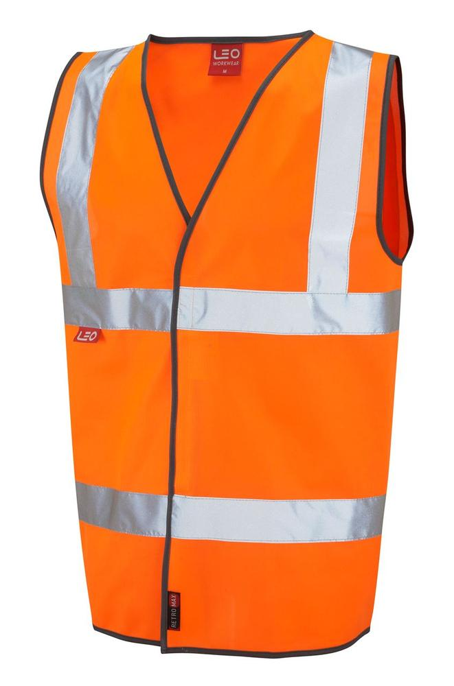 Leo Workwear Dolton W06-Y Hi Vis Flame Retardant Vest Waistcoat Orange